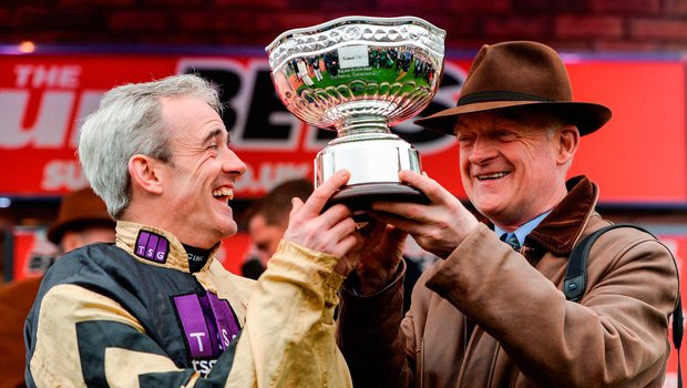 Ruby Walsh and trainer Willie Mullins celebrate their Stayers' Hurdle win Picture: Sportsfile
