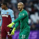 West Ham United's Darren Randolph is pictured during the Premier League draw with Everton at the London Stadium. Photo: Reuters/Eddie Keogh
