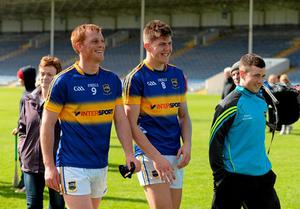 Tipperary's George Hannigan, left, and Steven O'Brien, after victory over Waterford. Munster GAA Football Senior Championship, Quarter-Final, Waterford v Tipperary. Semple Stadium, Thurles, Co. Tipperary