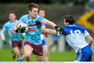 Paddy Holloway of GMIT in action against Eoin Fletcher of DIT in the Independent.ie Sigerson Cup