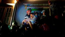 Rishi Khanal, an injured survivor is taken out by French rescue teams from a damaged building following Saturday's earthquake in Kathmandu, Nepal. Photo: Reuters