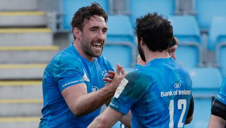 Leinster's Robbie Henshaw and Jack Conan celebrate their European Challenge Cup quarter-final win over Exeter Chiefs at Sandy Park, Exeter. Photo: Reuters/Paul Childs