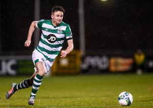 21 February 2020; Ronan Finn of Shamrock Rovers during the SSE Airtricity League Premier Division match between Shamrock Rovers and Cork City at Tallaght Stadium in Dublin. Photo by Stephen McCarthy/Sportsfile