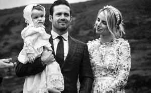 Spencer Matthews and Vogue Williams with son Theodore at his christening. Picture: Instagram