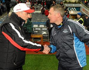Tyrone manager Mickey Harte and Dublin manager Jim Gavin. Picture: Pat Murphy / SPORTSFILE