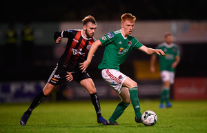 Alec Byrne of Cork City and Luke Wade-Slater of Bohemians. Photo: Stephen McCarthy/Sportsfile