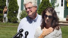 Diane and John Foley speaking about their heroic son, the late James Foley.   (AP Photo/Jim Cole)