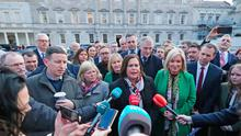 Sinn Fein Leader, Mary Lou McDonald speaks to the media as the newest members of the Sinn Fein Parliamentary Party meet for the first time at Leinster House in Dublin. Thursday February 13, 2020. Photo: Niall Carson/PA Wire