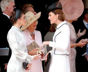 Queen Letizia of Spain, Camilla, Duchess of Cornwall and Catherine, Duchess of Cambridge at the Order of the Garter Service at St George's Chapel in Windsor Castle on June 17, 2019