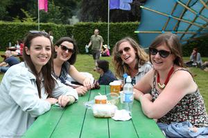 Leah Quigley (L front) and Fiona Swan (R front) and friends at Body & Soul Festival