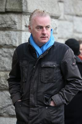 Dave Fanning arrives at Tony Fenton's funeral