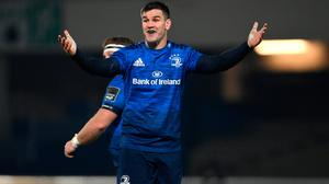 Jonathan Sexton gestures during Leinster's Guinness PRO14 win over Leinster at the RDS Arena in Dublin. Photo by Ramsey Cardy/Sportsfile