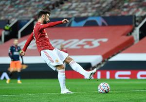 Bruno Fernandes scored a rocket of a goal in Man United comfortable Champions League win. REUTERS/Toby Melville