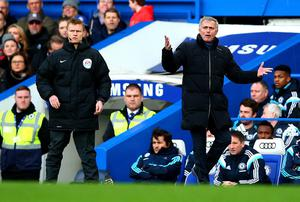 Chelsea manager Jose Mourinho reacts during their clash with Newcastle United at Stamford Bridge