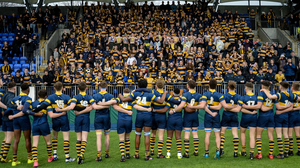 The King's Hospital rugby players face their supporters ahead of a Leinster Schools Senior Cup match at Donnybrook Stadium. Photo: Cody Glenn/Sportsfile