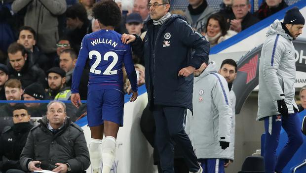 Willian came off with an injury in the first half for Chelsea (Adam Davy/PA)