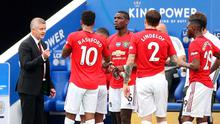 Teamtalk: Ole Gunnar Solskjaer addresses his players during a drinks break yesterday – the 33-point gap to Liverpool is the largest ever to separate United from England's top-flight champions. Photo: Getty Images