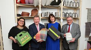 (L/R) Clodagh O'Reilly, CEO of Recreate, a Social Enterprise Development Fund 2019 Awardee, Minister Seán Canney, Minister of State for Community Development Natural Resources and Digital Development, Deirdre Mortell, CEO of Social Innovation Fund Ireland and George Jones, Chairman of IPB Insurance