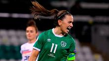 Katie McCabe of Republic of Ireland celebrates after scoring during the Women's Euro 2022 Qualifier against Germany at Tallaght Stadium. Photo: Sportsfile