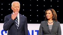 Support: Joe Biden and US Senator Kamala Harris during one of the Democrats' presidential debates in July last year. Poto: Reuters/Rebecca Cook/File Photo