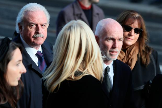 RTE broadcasters Marty Whelan (left) and Ray D'Arcy arrive for the funeral of the celebrated broadcaster Gay Byrne at St. Mary's Pro-Cathedral in Dublin. Brian Lawless/PA Wire