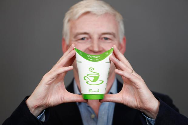 Tommy McLoughlin CEO of Butterfly Cup who have unveiled the world's first 100% plastic-free and fully recyclable all-in-one coffee cup.