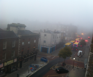 Heavy fog in Dublin City Centre
