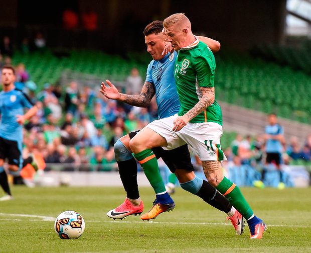 James McClean of Republic of Ireland in action against Jose Gimenez of Uruguay. Photo by Eóin Noonan/Sportsfile