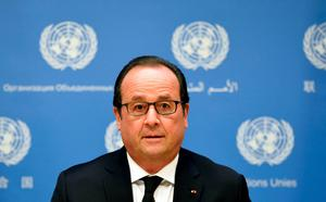 France's President Francois Hollande gives a statement about French intervention in Syria during the 70th UN General Assembly in New York on September 27, 2015. Hollande said on Sunday that six French jets had struck an Islamic State training camp in Syria, destroying their targets, and warned of more strikes in coming weeks. REUTERS/Alain Jocard/Pool