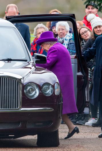 Queen Elizabeth II leaves after attending a morning church service at St Mary Magdalene Church in Sandringham, Norfolk