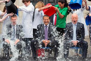 Minister for Health Leo Varadkar taking part in the ice bucket challenge