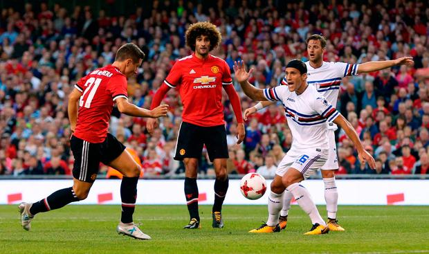 Manchester United's Ander Herrera has a shot at goal. Photo credit: Niall Carson/PA Wire