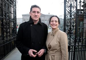 At the gates of power: Catherine Martin and Eamon Ryan outside Leinster House. Photo: Tom Burke