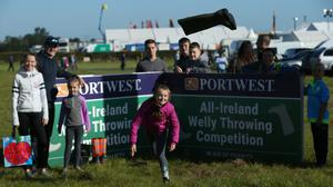 17/10/19 Ceira Nolan (10) from Carlow throws welly at at the National Ploughing Championships to get under way in Co Carlow. Pic Stephen Collins/Collins Photos