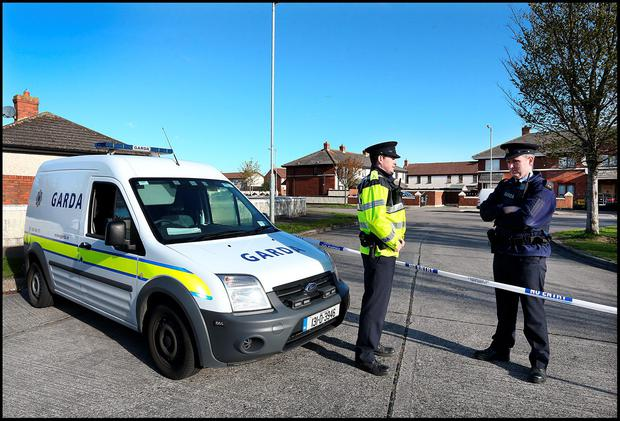Gardai at the scene of the fatal shooting at Kilcronan Close in Clondalkin