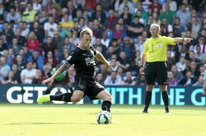 Burnley's Scott Airfield takes the penaty only for it to be Saved by Crystal Palace's goalkeeper Julian Speroni to savel during the Barclays Premier League match at Selhurst Park
