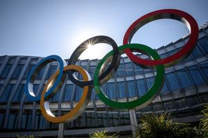 HOLDING THE LINE: The Olympic Rings logo in front of the headquarters of the IOC in Lausanne yesterday. Photo: AFP via Getty Images
