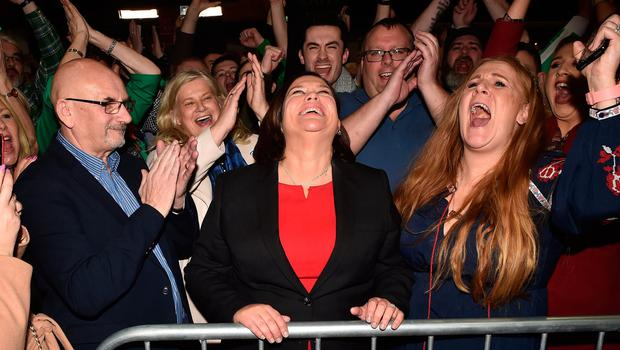 Winner: Mary Lou McDonald celebrates with her supporters after she was elected on the first count of the Dublin Central constituency at the RDS yesterday. Photo: Charles McQuillan/Getty Images