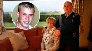 Breege and Stephen Quinn, above, parents of murdered Paul Quinn (inset)