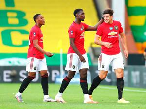 Harry Maguire celebrates scoring Man United's second goal in the 2-1 win over Norwich in the FA Cup quarter-final.