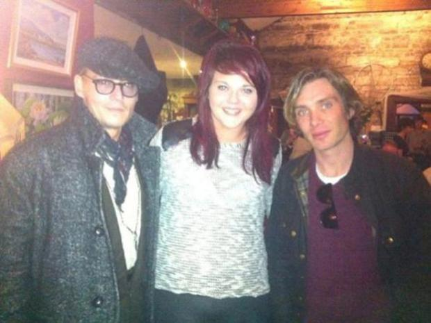 Amy Dowdall and Johnny Depp and Cillian Murphy in Weirs in Multyfarnham today.