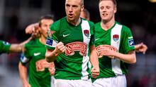 8 May 2015; Karl Sheppard, Cork City, left, celebrates after scoring his side's second goal. SSE Airtricity League Premier Division, Cork City v Sligo Rovers. Turner's Cross, Cork. Picture credit: Diarmuid Greene / SPORTSFILE