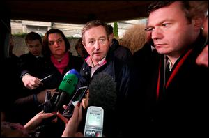 Taoiseach Enda Kenny speaking to media in Athlone during the flooding
