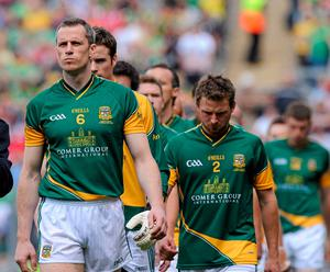 Meath captain Nigel Crawford leads his side out during the 2010 Leinster final. Photo: Sportsfile