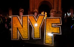 Performers during the Procession of Light ceremony in Dublin's City Centre as part of the NYF Dublin festival