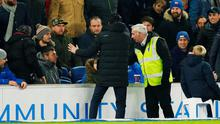 Unai Emery apologises to Brighton fans after he kicked a bottle into the crowd. Photo: Action Images via Reuters