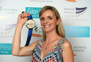 Roisin McGettigan pictured at the National Athletics Awards with her European Indoors 1500m Bronze medal which she won in Turin in 2009. Photo: Barry Cregg / SPORTSFILE