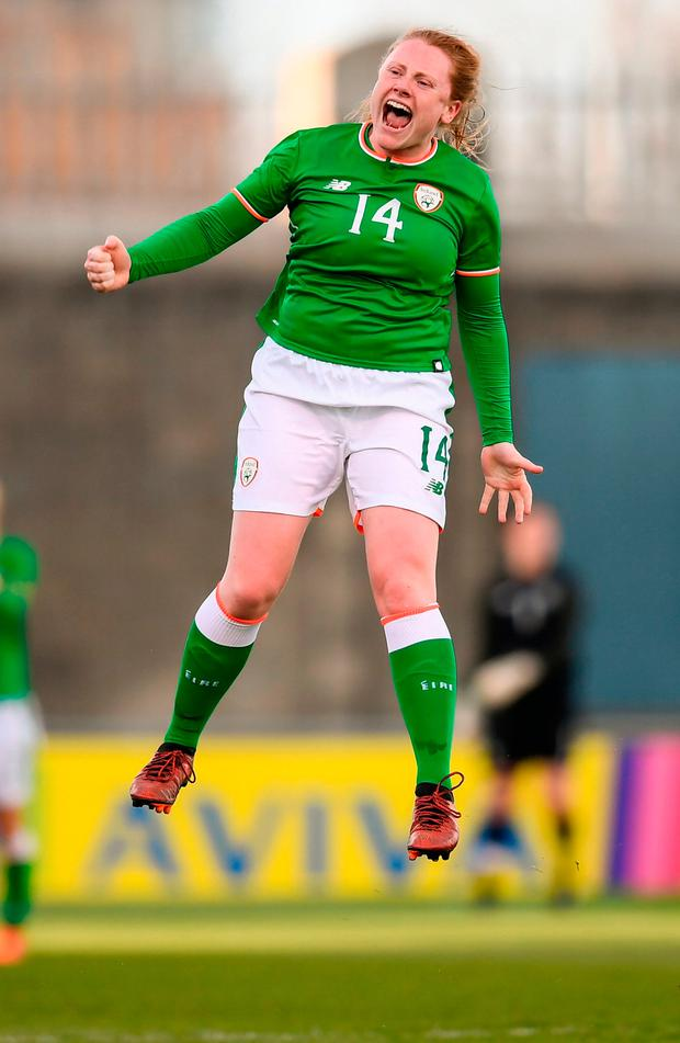 Amber Barrett celebrates at the final whistle after scorng the winner for Ireland in the Women's World Cup qualifier against Slovakia at Tallaght Stadium. Photo: Stephen McCarthy/Sportsfile