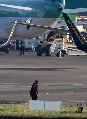 Damaged aircraft at Dublin Airport as minor delays to flights were expected following an incident involving two Ryanair Boeing 737 aircraft that clipped each other while moving on the runways