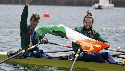 Fintan Mc Carthy and Paul O'Donovan of Ireland with their gold medal following the lightweight men's double sculls final at the 2020 Summer Olympics AP Photo/Darron Cummings